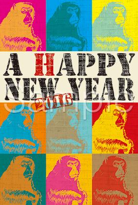 猿をモチーフにしたPOPアート風デザインの年賀状