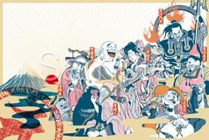 七福神と初日の出の年賀状テンプレート