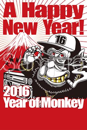 2016年賀状_B-Monkey_賀詞無し
