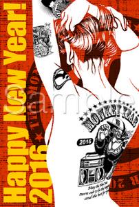 背中に猿のタトゥを入れた女性のイラストをデザインした年賀状