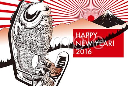 スノーボードをする猿の2016年賀状テンプレート