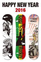 スノーボードのイラスト年賀状テンプレート
