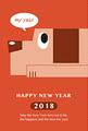2018年賀状テンプレート_犬の横顔