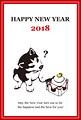 2018年賀状_子犬と鏡餅