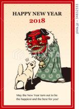 2018年 年賀状テンプレート「犬と獅子舞」シリーズ