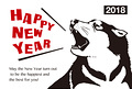 2018年 年賀状テンプレート「吠える犬」シリーズ