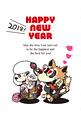 2018年 年賀状テンプレ「カップル犬の初詣03」シリーズ
