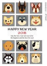 2018年 年賀状テンプレート「人気犬12種」シリーズ