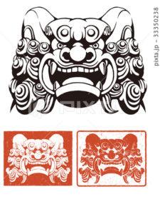 イラスト素材: 狛犬の顔セット