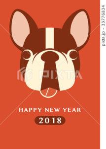 2018年賀状テンプレート_フレンチブルドッグ_HNY_添え書き無し_ver.Red