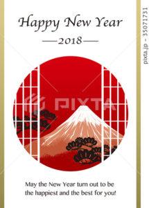 2018年賀状テンプレート_ジャポニズム富士山_HNY_英語添え書き付き
