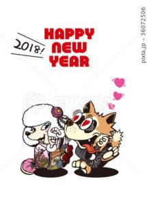 2018年賀状_カップル犬の初詣03_添え書きスペース空き