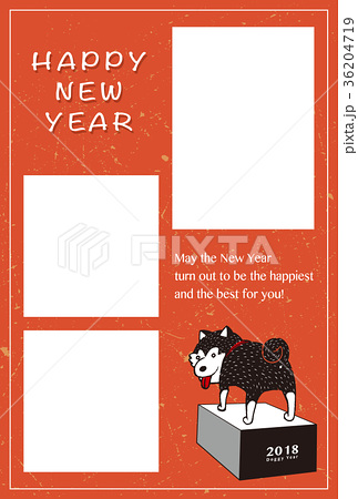 2018年 年賀状テンプレ「柴犬フォトフレーム」シリーズ