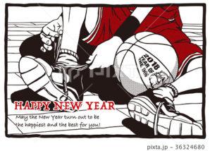 2018年 年賀状テンプレ「バスケットボール」シリーズ