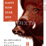2019年賀状「シンプル亥」シリーズ