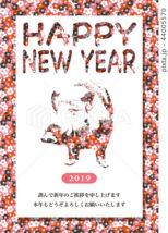 2019年賀状「フラワーイノシシ」ハッピーニューイヤー 日本語添え書き付き