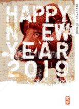 2019年賀状「ペインテッドイノシシ」ハッピーニューイヤー 手書き文字スペース空き