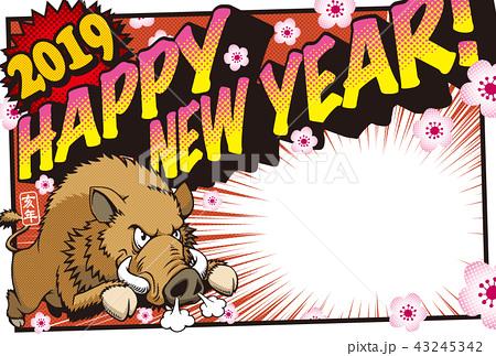 2019アメコミ風年賀状「猪突猛進」PF ハッピーニューイヤー