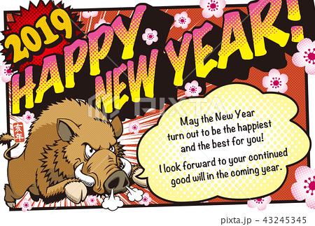 2019アメコミ風年賀状「猪突猛進」ハッピーニューイヤー 英語添え書き付き
