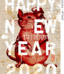 2020年 年賀状テンプレート「ペイントアートマウス」シリーズ