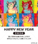 2020年 年賀状テンプレート「ポップアートネズミ」シリーズ
