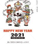 2021年 年賀状テンプレート「七福神バンド」シリーズ